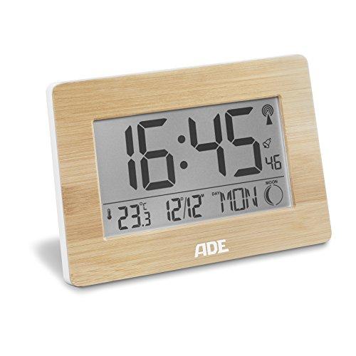 ADE Funkuhr CK 1702. Digitale Uhr mit DCF Zeitsignal, Gehäuse mit echtem Bambus, LCD-Display, Thermometer, Wecker und Kalender. Inklusive Batterie, 2.8 x 22.9 x 16.1 cm