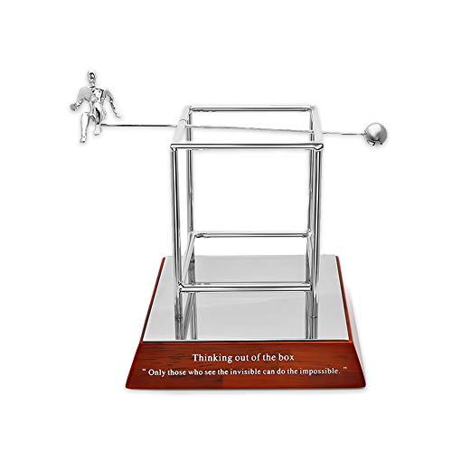 """Executive Gift Shoppe - """"Thinking Out of The Box"""" Stress Relief Desktop Model - Silver Ball and Figurine Seesaw Executive Desk Toy"""