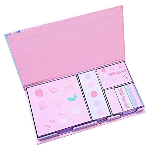 Plus Nao(プラスナオ) 付箋紙 ふせん 6個セット 文具 文房具 事務用品 メモ 桜 花 フラワー ネコ 猫 ピンク ブルー パープル かわいい おし - 女の子×ピンク