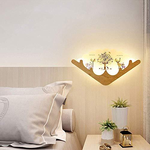 Lámpara de Pared Decoración de Pared LED de Madera, nórdica, Creativa, para Dormitorio, mesita de Noche, salón, Minimalista, 43,5 x 24,5 cm Lámparas