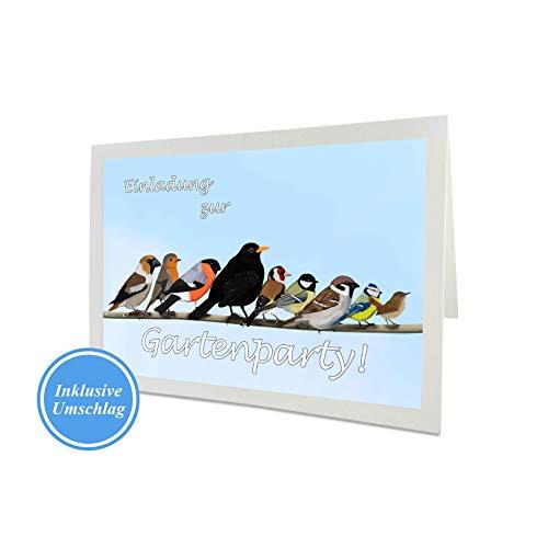 Einladung zur Gartenparty, Gartenvögel auf einem Ast, Süße Einladungskarte mit Umschlag