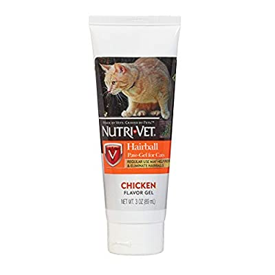 Nutri-Vet Cat Hairball Support Paw Gel | Hairball Remedy for Cats | Tasty Chicken Flavor | 3 Ounce Tube