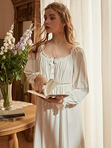 HUANSUN Camisón Mujer Algodón Vestido De Dormir Mujer, Blanco, M