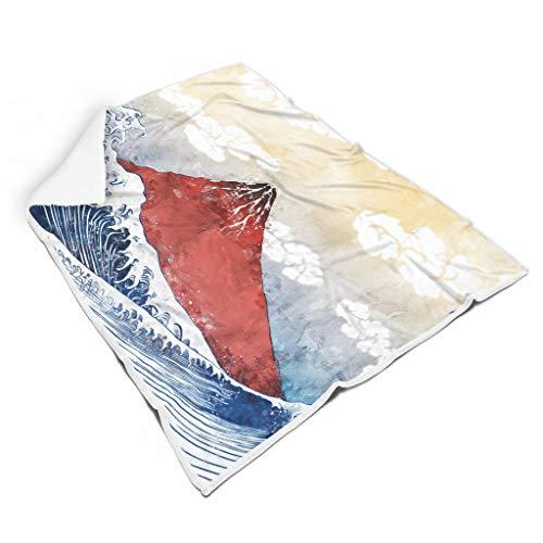 IOVEQG Manta japonesa Ukiyoe Big Wave suave, incolora, cálida, para sofá, se siente bien para BabySunshine estilo blanco 50 x 60 pulgadas