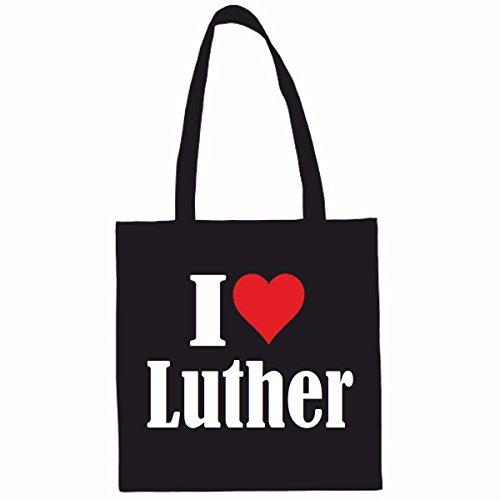 Tasche I Love Luther Größe 38x42 Farbe Schwarz Druck Weiss