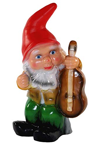 RAKSO Gartenzwerg Zwerg Figur aus Kunststoff Gartenfigur Musiker mit Gitarre Höhe 32 cm