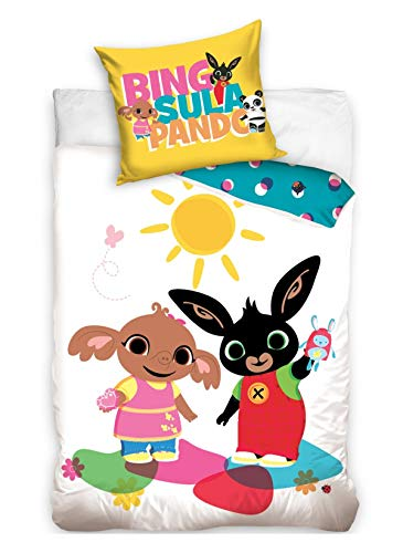 Sula Bing Bedding Set - Bing Bunny Duvet Set for Toddlers - Cbeebies Bedding 100 x 135 cm Duvet Cover and 40 x 60 cm Pillowcase - 100% Cotton Cotbed Bedding Set