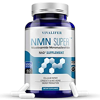 NMN Stabilized Form Supplement, 500mg Nicotinamide Mononucleotide Capsules for Supports Anti-Aging, Longevity and Energy, Naturally Boost NAD+ Levels - 60 Capsules