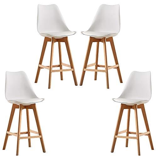 MUPAI Lot de 4 Tabouret de Bar, Scandinave Chaise de Bar en Bois pour Bars/Cuisine/Café/Comptoirs (Blanc, 4)