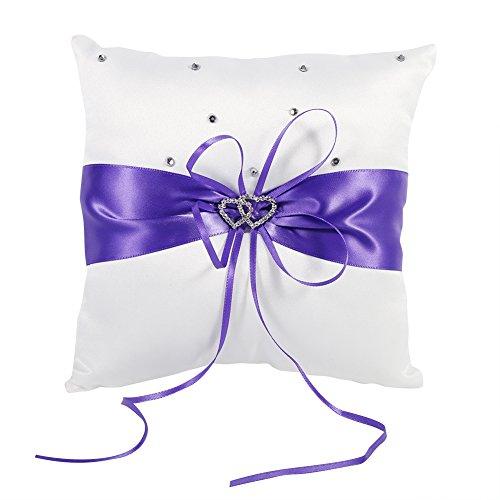 Lazmin Almohada de cojín para Anillo de Bodas con Lazo, cojín para Anillo de Diamantes con Corazones Dobles, Almohada para Anillo de Boda en 4 Colores, Almohada para(Purple)