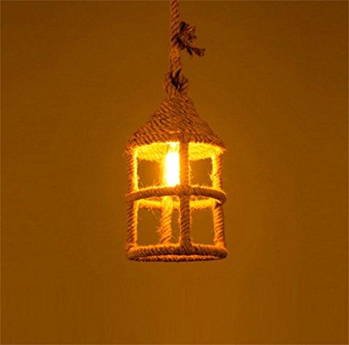 Kronleuchter Amerikanische rustikale American Style Retro Hanf Seil Kronleuchter LOFT Kreatives Nostalgisches Restaurant Eisen Vogelkäfig Kronleuchter Personalisierte Bar Single Head Lamps (keine Birn