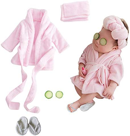 SPOKKI Newborn Photography Props Baby Girl 5 PCS Bathrobes Bath Towel Outfit with Slippers Cucumber product image