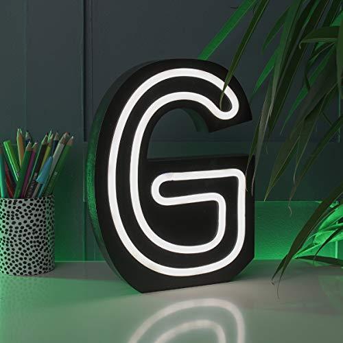 Festive Lights Letras Luminosas con Efecto neón, Funciona con Pilas, 16 cm, para Colgar en la Pared, iluminación Decorativa (G), G