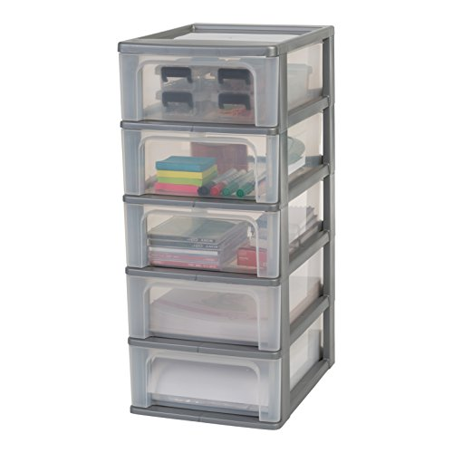 Amazon Basics OCH-2005 Schubladencontainer mit 5 Schübe, Plastik, Silber, 5 mittlere Schubladen