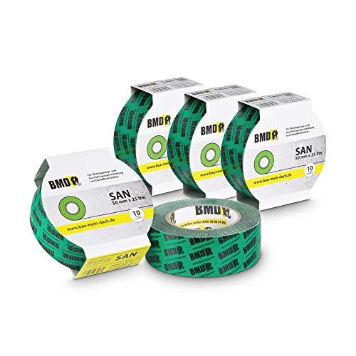 5x BMD - san Dichtungsband Hochleistungsklebeband (Grün - 50mm x 25lfm) nach DIN Norm 4108 Teil 7 Klebeband