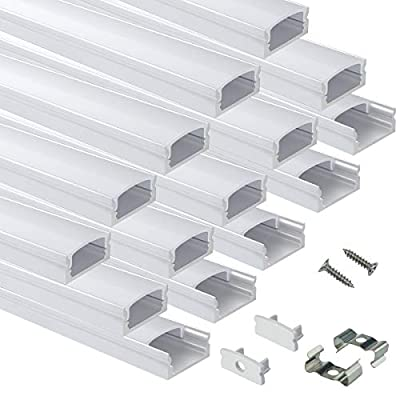 Muzata LED Aluminum Channel System with Cover,End Caps and Mounting Clips, Aluminum Profile for Strip Tape Diffuser Track Segments,15Pack 3.3ft/1Meter U Shape U1SW