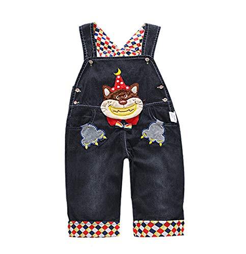 DEBAIJIA Baby Jungen Mädchen Schwarz Denim Latzhose Kleinkind Hosenträger Jeans Overall Lächeln Waschbär Herstellergr.100 - Deutsche Gr.92/100