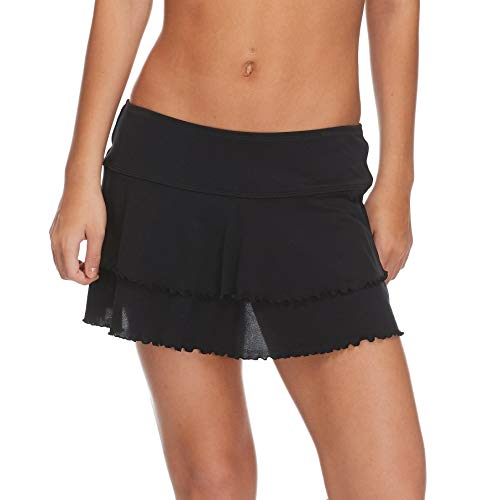 Body Glove Women's Lambada Solid Mesh Cover Up Skirt Swimsuit, Smoothies Black, Large