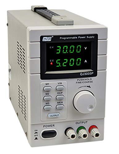 Komerci Regelbares Labornetzgerät Netzteil Stromversorgung Trafo 30V, 5A, OCP, digital, programmierbar, QJ3005P Grau