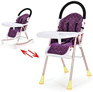 Baby High Chair, Adjustable, Folding Baby Highchairs with 7 Different Heights and Adjustable Seat, High Chairs with Remova...