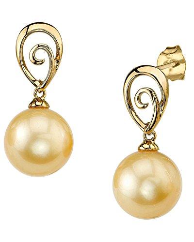 Mar del sur de oro pendientes de otoño en la perla cultivada 14 K oro