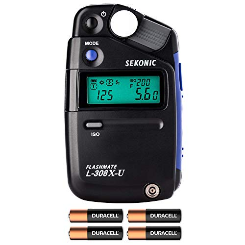 Sekonic L-308X-U Flashmate Light Meter (401-305) W/ 4 AA Batteries and FiberTique Cloth