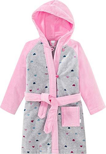 Schiesser Kinder-Bademantel grau meliert/rosa Größe 128