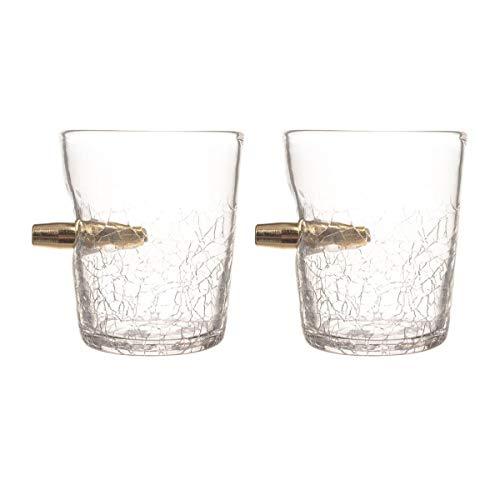 Bar Amigos - Set di 2 bicchieri da liquore a forma di spirito, confezione doppia da 300 ml, con proiettile in vetro, bicchieri da degustazione per bevande Scotch Bourbon Whiskey Brandy