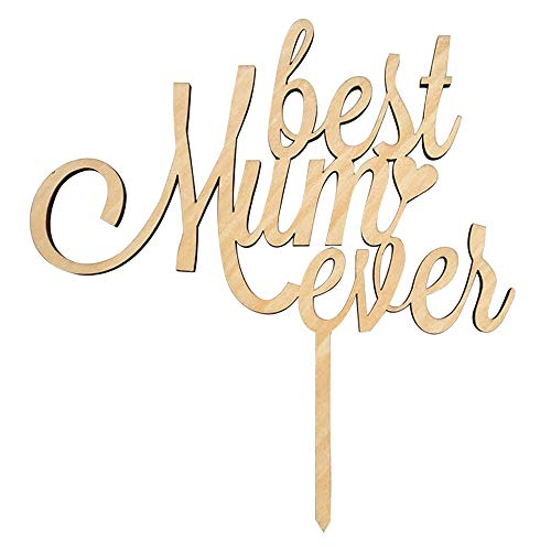 Mother's Day Wooden MOM Cake Toppers Sticks Cake Picks Cake Decoration,Home Decor (Yellow)