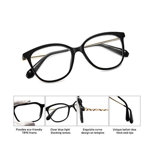 SOJOS Cateye Blue Light Blocking Glasses TR90 Computer Eyeglasses BALLET SJ5092