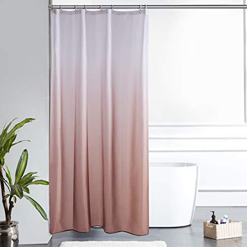 Furlinic Duschvorhang Textil Anti-schimmel Wasserdicht Waschbar Badvorhang aus Polyester Stoff Weiß nach Taupe Schmal 120x200cm mit 8 Duschvorhangringen.