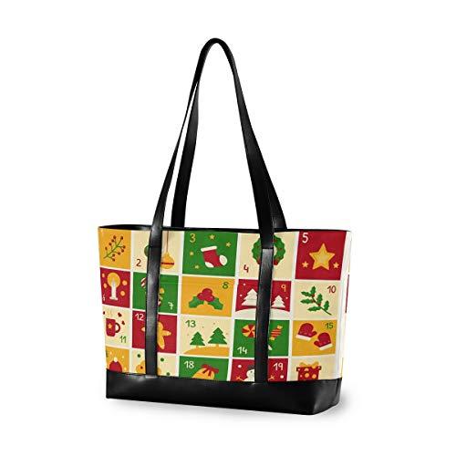 Weihnachts-Adventskalender 14 15 15,4 15,6 Zoll Laptop Tragetasche für Frauen Groß Leicht und Wasserdicht Computer Handtaschen Laptop Schulter Messenger Bag