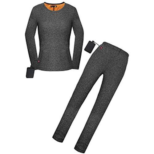 PLAYH Conjunto de calça térmica de roupa íntima, calça aquecida, roupa íntima feminina de esqui tecido macio elástico inverno para esportes ao ar livre esqui acampamento (cor: cinza, tamanho: G)