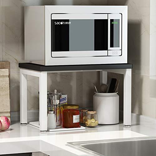 ZXCC Sencillo Cocina Estantería Microondas Encimera, Acero Almacenamiento Madera Estantes Utilidad Soportes Organizador Multiuso Especia Contador Gabinete Metálico Marco-b-Negro 2-Niveles
