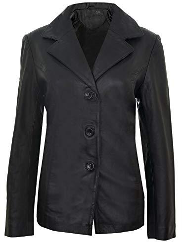 Infinity Leather Blazer para Damas de Cuero Genuino Clásico Largo hasta la Cadera con 3 Botones Elegante Casual