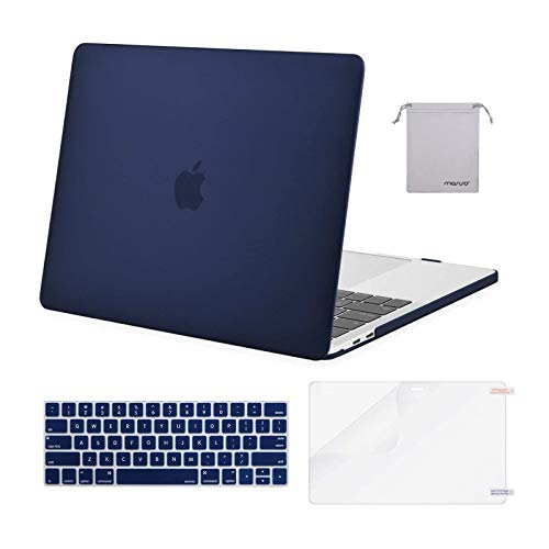 MOSISO Compatible with MacBook Pro 13 inch Case 2016-2020 Release A2338 M1 A2289 A2251 A2159 A1989 A1706 A1708, Plastic Hard Shell Case&Keyboard Cover Skin&Screen Protector&Storage Bag, Navy Blue