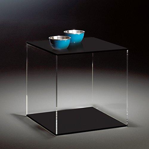 HOWE-Deko Hochwertiger Acryl-Glas Würfel/Beistelltisch, klar/schwarz, 45 x 45 cm, H 45 cm, Acryl-Glas-Stärke 8 mm