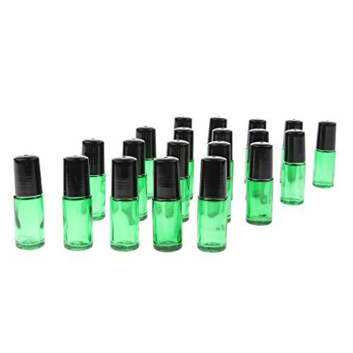 Harilla 20x 5ml Rollo de Vidrio Portátil en Botellas Frasco de Aceites Esenciales de Bola de Rodillo de Acero - Verde claro