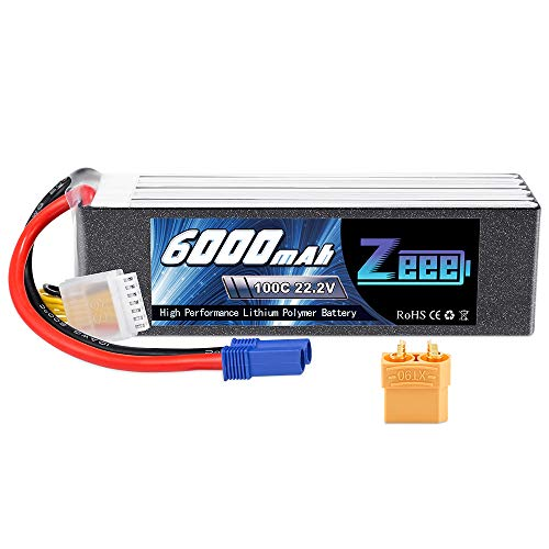 Zeee 22.2V 100C 6000mAh 6S Lipo Battery with EC5 and XT90 Connector RC Battery for RC Car Truck RC Airplane Helicopter Quadcopter Boat