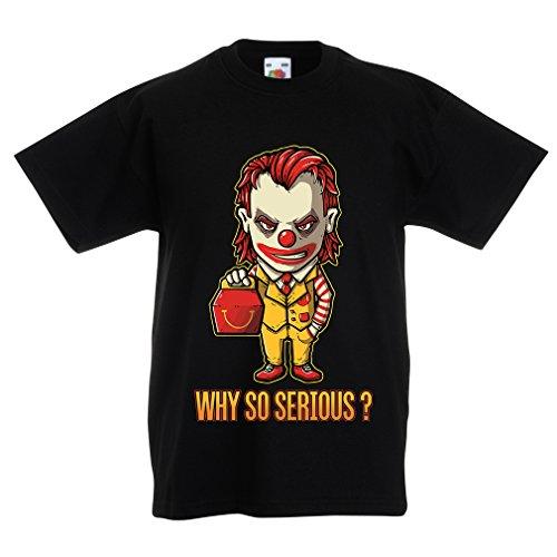 N4443K La Camiseta de los niños Why So Serious? (7-8 Years Negro Multicolor)