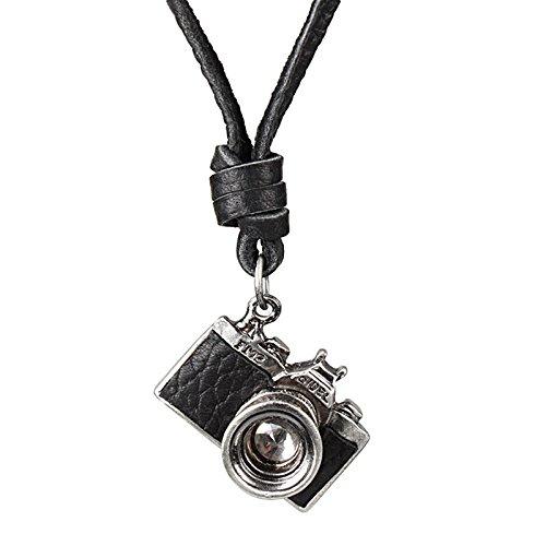 Tinksky Kamerahalskette im Vintage-Look, verstellbar mit Leder-Anhänger, als Geschenk für Damen und Herren (schwarz)