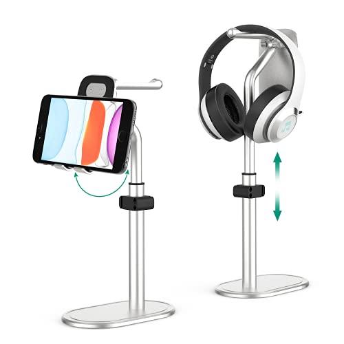 Handy Ständer,Kopfhörer Ständer Verstellbare Headset Halterung Höhenverstellbar Winkel ,Aluminium Tisch Tablet Halter kompatibel mit 4.7-12.9 Zoll iPhone Samsung Huawei ipad für Selfie Videos