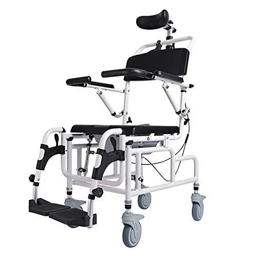 Silla para ducha mejorada, silla para inodoro / ducha reclinable inclinable en el espacio, con asiento acolchado, respaldo, reposabrazos y reposapiés abatibles, cubo para inodoro y reposacabezas ajust