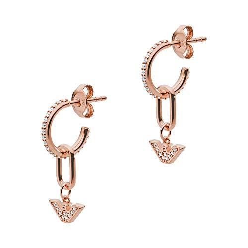 Emporio Armani EG3461221 - Pendientes colgantes de plata de ley para mujer, color oro rosa