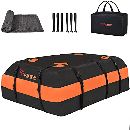 Copsrew 20 Cubic ft Car Roof Bag & Rooftop Cargo Carrier 100% Waterproof Heavy Duty RoofBag. Fits All Vehicle with/Without Rack. 4+2 Door Hooks Included (Orange)