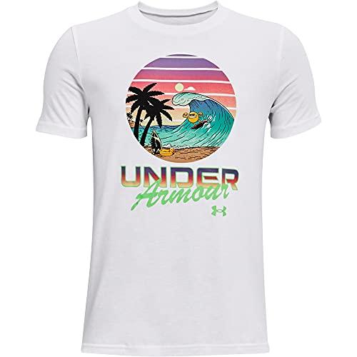 Under Armour Boys' Summer Pack Txt Short Sleeve T-Shirt , White (100)/Stadium Green , Youth Large
