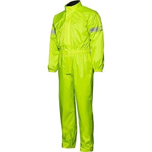 DXR Regenkombi Motorrad Regenbekleidung Regenanzug Textil Regenkombi, wasserdicht, Reflexmaterial am Oberarm, Packtasche, Langer Reißverschluss, Beinweitenverstellung, Gelb, L