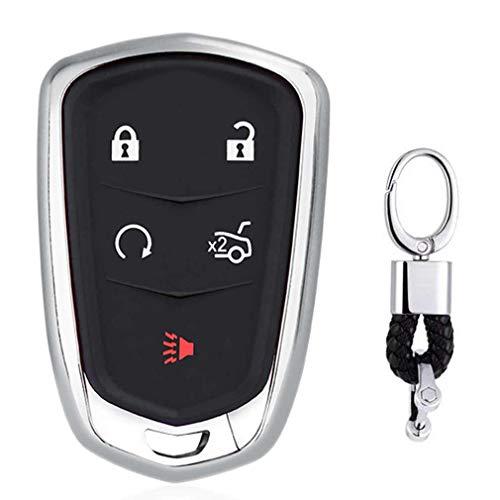 Argenté Auto clés Sac Housse de Protection pour Cadillac XT5 ATS XTS CT6 SRX CTS 3/4/5/6-Buttons