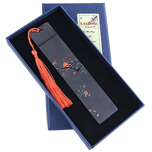 Segnalibro in legno naturale, segnalibro personalizzato in legno per gli amanti dei libri, regalo di Natale, fiore di prugna dipinto