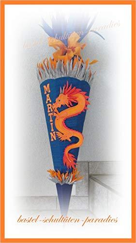 Schultüten Bastelset Japanischer Drachen blau-orange